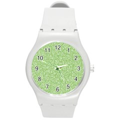 Green pattern Round Plastic Sport Watch (M)