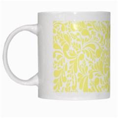 Yellow pattern White Mugs