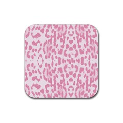 Leopard pink pattern Rubber Square Coaster (4 pack)