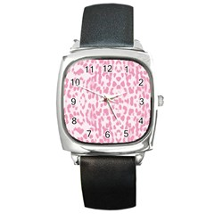 Leopard pink pattern Square Metal Watch