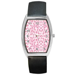 Leopard pink pattern Barrel Style Metal Watch