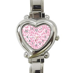 Leopard pink pattern Heart Italian Charm Watch