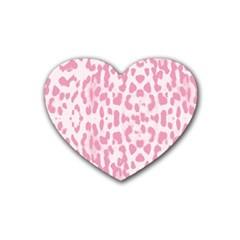Leopard pink pattern Rubber Coaster (Heart)