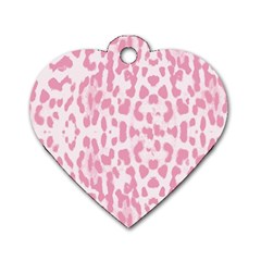Leopard pink pattern Dog Tag Heart (One Side)