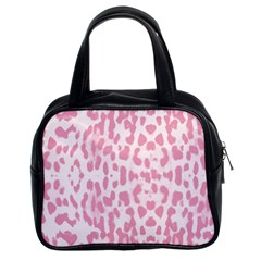 Leopard pink pattern Classic Handbags (2 Sides)