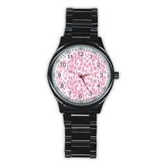 Leopard pink pattern Stainless Steel Round Watch