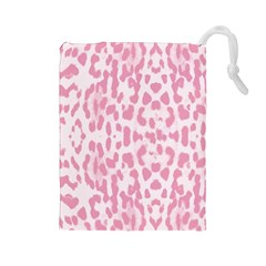 Leopard pink pattern Drawstring Pouches (Large)