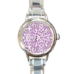 Purple leopard pattern Round Italian Charm Watch