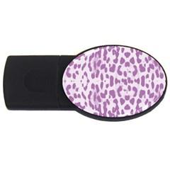 Purple leopard pattern USB Flash Drive Oval (1 GB)