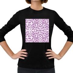 Purple leopard pattern Women s Long Sleeve Dark T-Shirts