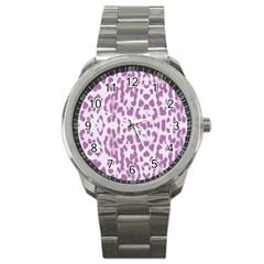 Purple leopard pattern Sport Metal Watch