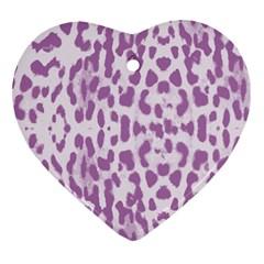 Purple leopard pattern Heart Ornament (Two Sides)
