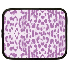 Purple leopard pattern Netbook Case (Large)