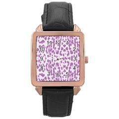 Purple leopard pattern Rose Gold Leather Watch
