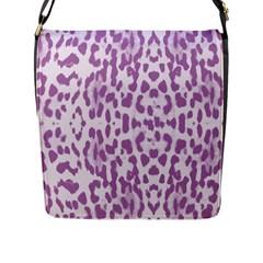 Purple leopard pattern Flap Messenger Bag (L)