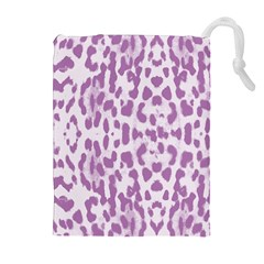 Purple leopard pattern Drawstring Pouches (Extra Large)
