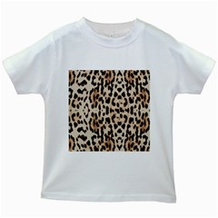 Leopard pattern Kids White T-Shirts