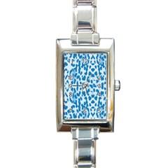 Blue leopard pattern Rectangle Italian Charm Watch