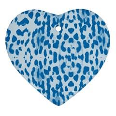Blue leopard pattern Ornament (Heart)