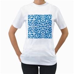 Blue leopard pattern Women s T-Shirt (White) (Two Sided)