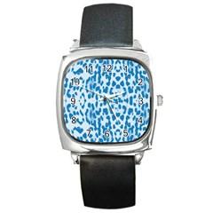 Blue leopard pattern Square Metal Watch
