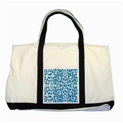 Blue leopard pattern Two Tone Tote Bag