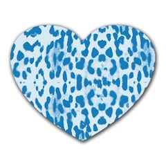 Blue leopard pattern Heart Mousepads