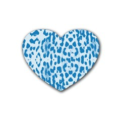 Blue leopard pattern Rubber Coaster (Heart)