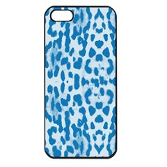 Blue leopard pattern Apple iPhone 5 Seamless Case (Black)