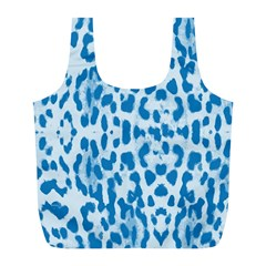 Blue leopard pattern Full Print Recycle Bags (L)