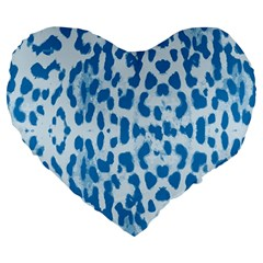 Blue leopard pattern Large 19  Premium Flano Heart Shape Cushions