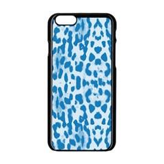 Blue leopard pattern Apple iPhone 6/6S Black Enamel Case