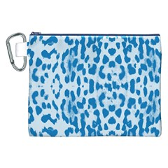 Blue leopard pattern Canvas Cosmetic Bag (XXL)