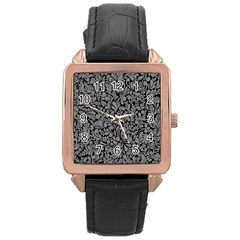 Pattern Rose Gold Leather Watch