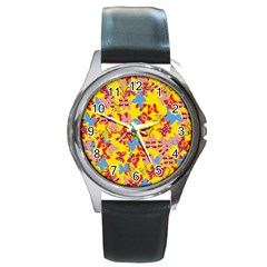 Butterflies  Round Metal Watch