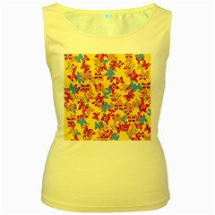 Butterflies  Women s Yellow Tank Top