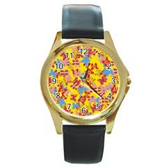 Butterflies  Round Gold Metal Watch