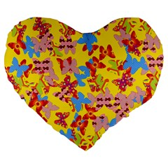 Butterflies  Large 19  Premium Heart Shape Cushions