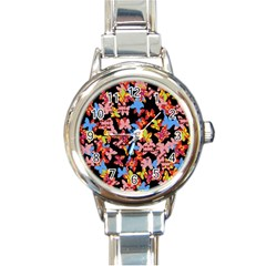 Butterflies Round Italian Charm Watch
