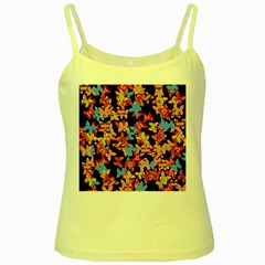 Butterflies Yellow Spaghetti Tank