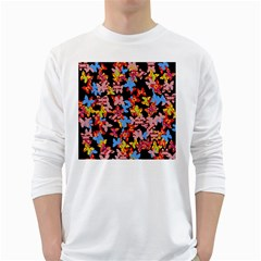 Butterflies White Long Sleeve T-Shirts