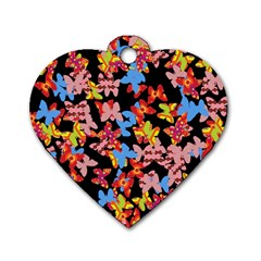 Butterflies Dog Tag Heart (Two Sides)
