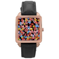 Butterflies Rose Gold Leather Watch