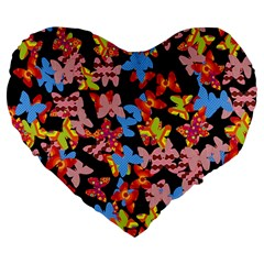 Butterflies Large 19  Premium Flano Heart Shape Cushions