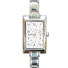 Cute Flamingos And  Leaves Pattern Rectangle Italian Charm Watch