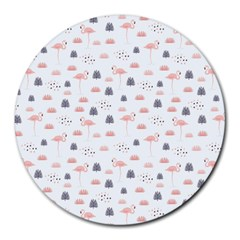 Cute Flamingos And  Leaves Pattern Round Mousepads