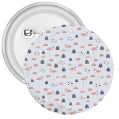 Cute Flamingos And  Leaves Pattern 3  Buttons
