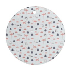 Cute Flamingos And  Leaves Pattern Ornament (Round)