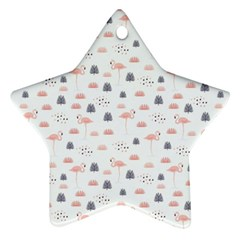 Cute Flamingos And  Leaves Pattern Ornament (Star)