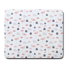 Cute Flamingos And  Leaves Pattern Large Mousepads